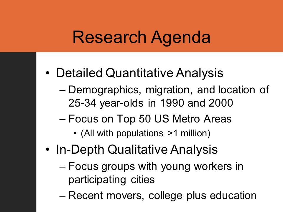 Research Agenda Detailed Quantitative Analysis –Demographics, migration, and location of 25-34 year-olds in 1990 and 2000 –Focus on Top 50 US Metro Areas (All with populations >1 million) In-Depth Qualitative Analysis –Focus groups with young workers in participating cities –Recent movers, college plus education