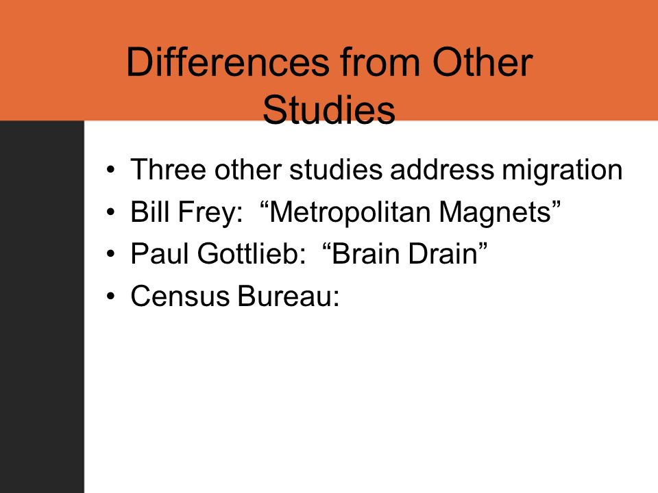 Differences from Other Studies Three other studies address migration Bill Frey: Metropolitan Magnets Paul Gottlieb: Brain Drain Census Bureau: