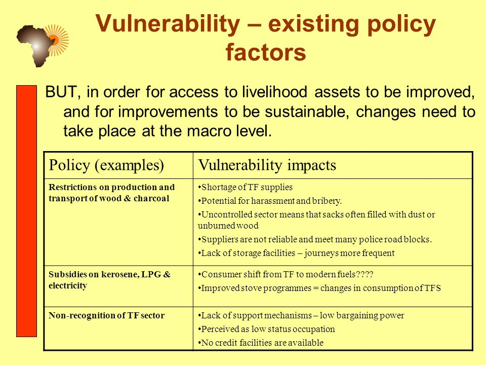 Vulnerability – existing policy factors BUT, in order for access to livelihood assets to be improved, and for improvements to be sustainable, changes need to take place at the macro level.