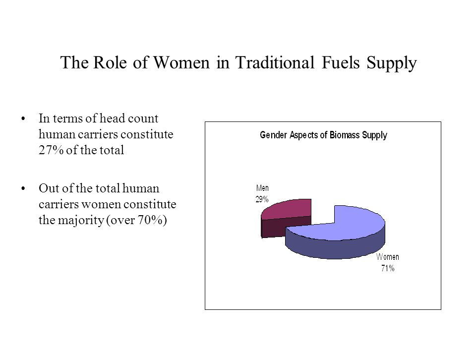 The Role of Women in Traditional Fuels Supply In terms of head count human carriers constitute 27% of the total Out of the total human carriers women constitute the majority (over 70%)