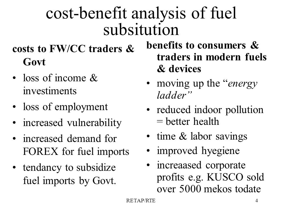RETAP/RTE4 cost-benefit analysis of fuel subsitution costs to FW/CC traders & Govt loss of income & investiments loss of employment increased vulnerability increased demand for FOREX for fuel imports tendancy to subsidize fuel imports by Govt.