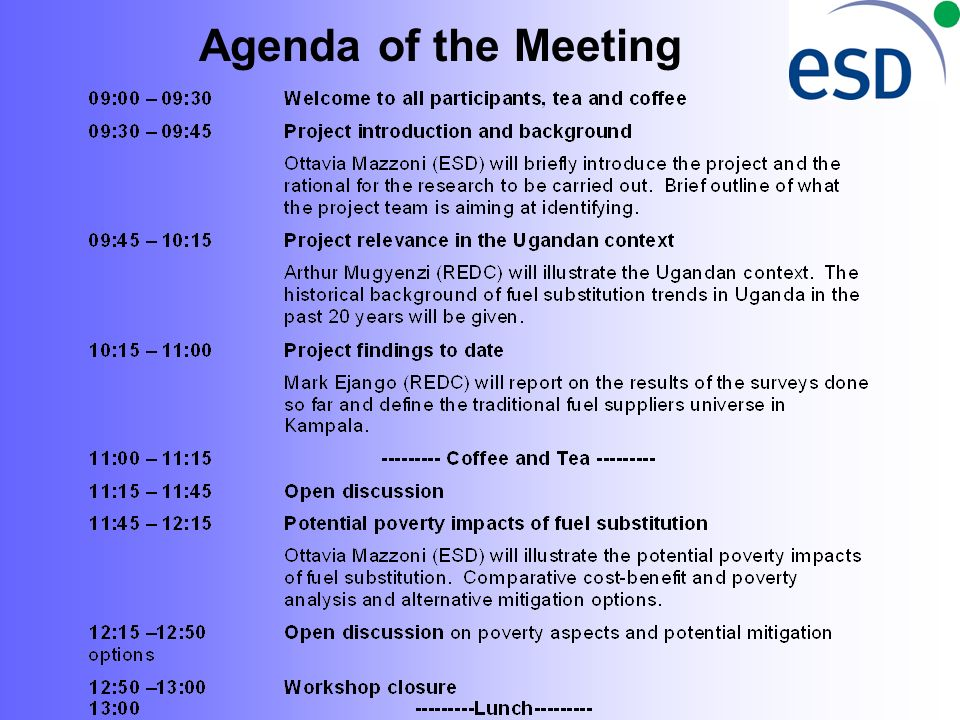 Agenda of the Meeting