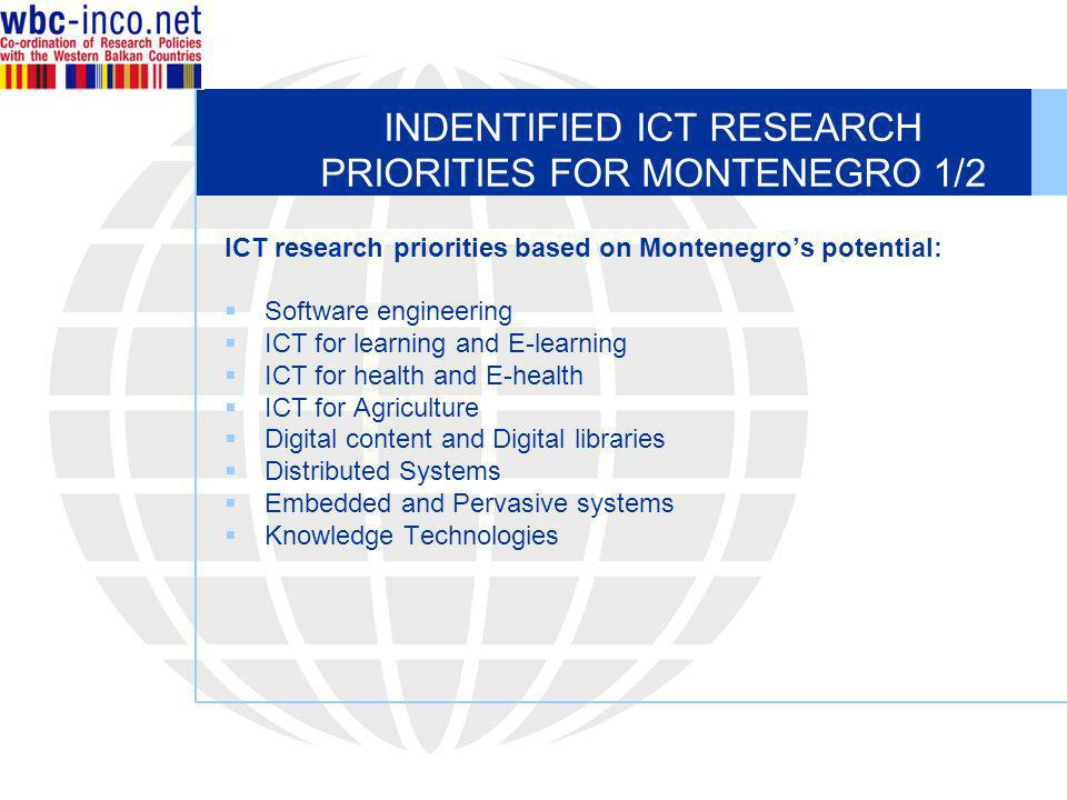 INDENTIFIED ICT RESEARCH PRIORITIES FOR MONTENEGRO 1/2 ICT research priorities based on Montenegros potential: Software engineering ICT for learning and E-learning ICT for health and E-health ICT for Agriculture Digital content and Digital libraries Distributed Systems Embedded and Pervasive systems Knowledge Technologies