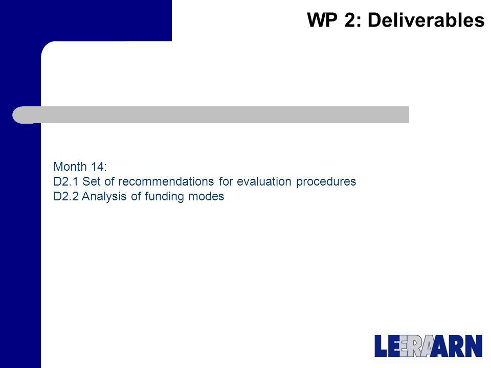 WP 2: Deliverables Month 14: D2.1 Set of recommendations for evaluation procedures D2.2 Analysis of funding modes