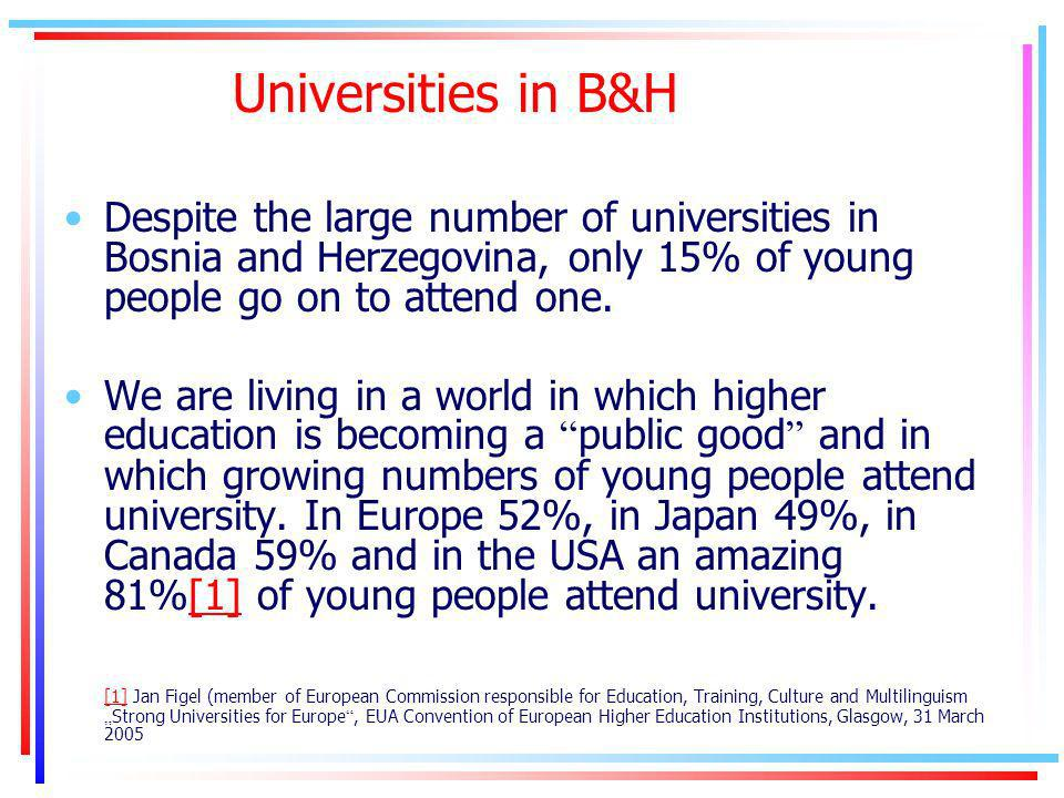 Universities in B&H Despite the large number of universities in Bosnia and Herzegovina, only 15% of young people go on to attend one.