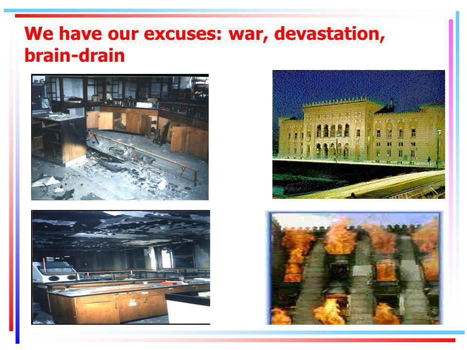 We have our excuses: war, devastation, brain-drain