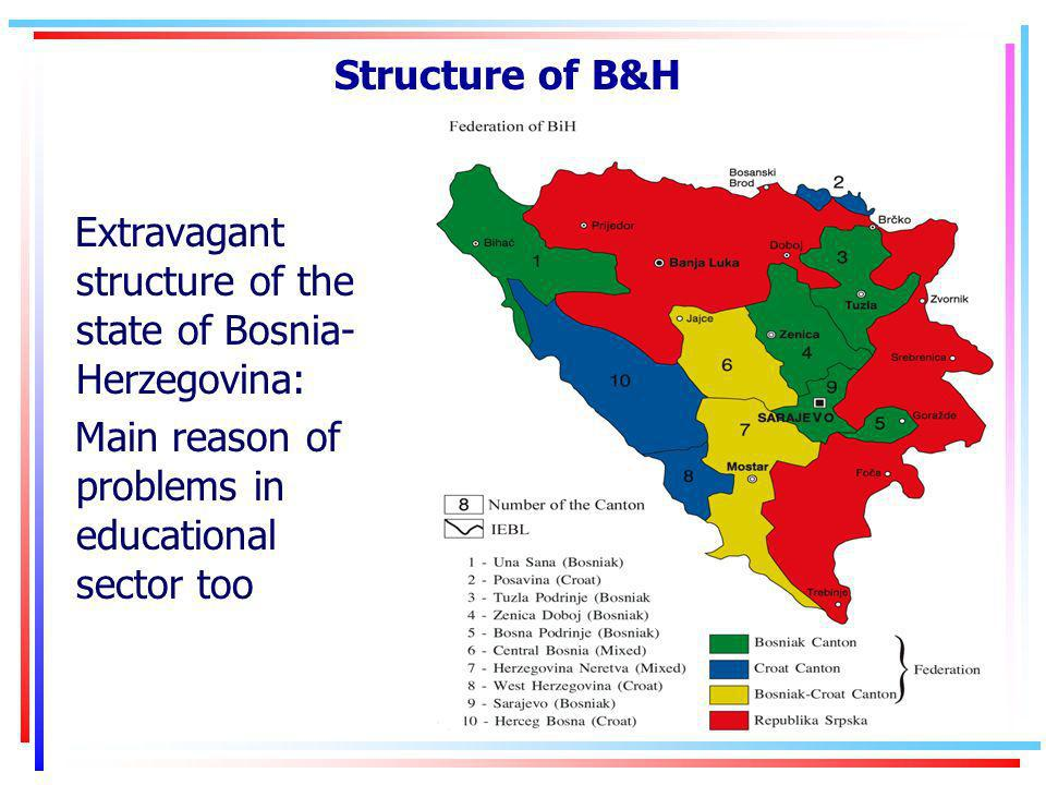 Structure of B&H Extravagant structure of the state of Bosnia- Herzegovina: Main reason of problems in educational sector too