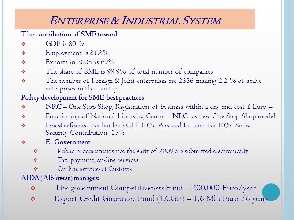 E NTERPRISE & I NDUSTRIAL S YSTEM The contribution of SME toward: GDP is 80 % Employment is 81.8% Exports in 2008 is 69% The share of SME is 99.9% of total number of companies The number of Foreign & Joint enterprises are 2336 making 2.2 % of active enterprises in the country Policy development for SME-best practices NRC – One Stop Shop, Registration of business within a day and cost 1 Euro – Functioning of National Licensing Centre – NLC- as new One Stop Shop model Fiscal reforms –tax burden : CIT 10%, Personal Income Tax 10%, Social Security Contribution 15% E- Government Public procurement since the early of 2009 are submitted electronically Tax payment,on-line services On line services at Customs AIDA (Albinvest) manages: The government Competitiveness Fund – 200.000 Euro/year Export Credit Guarantee Fund (ECGF) – 1,6 Mln Euro /6 years