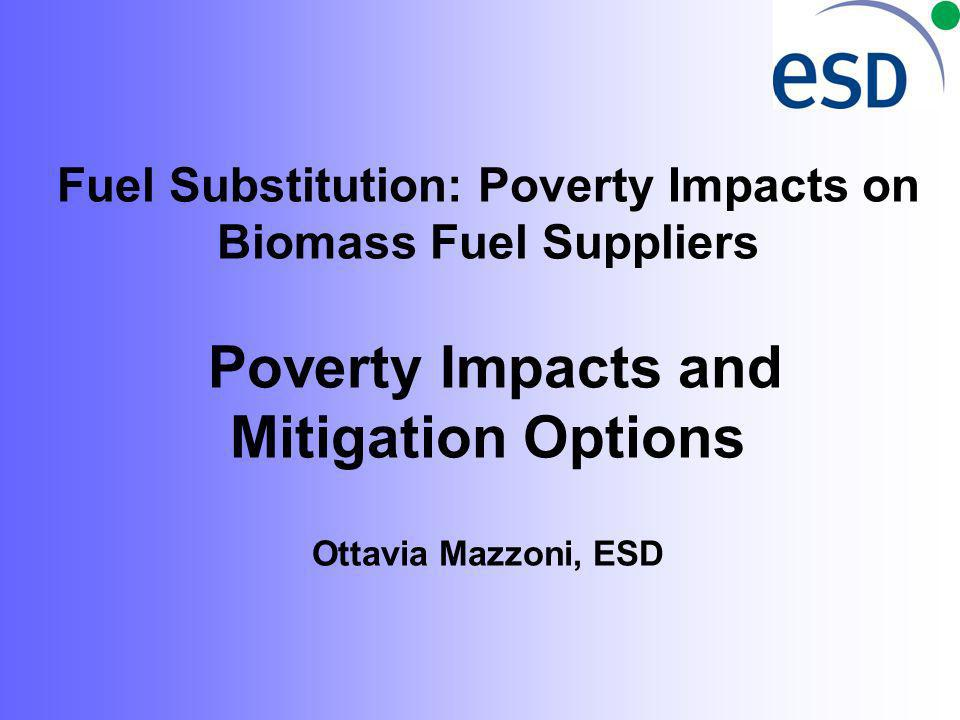 Fuel Substitution: Poverty Impacts on Biomass Fuel Suppliers Poverty Impacts and Mitigation Options Ottavia Mazzoni, ESD