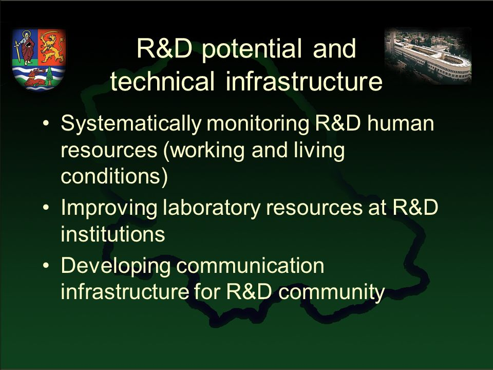 R&D potential and technical infrastructure Systematically monitoring R&D human resources (working and living conditions) Improving laboratory resources at R&D institutions Developing communication infrastructure for R&D community