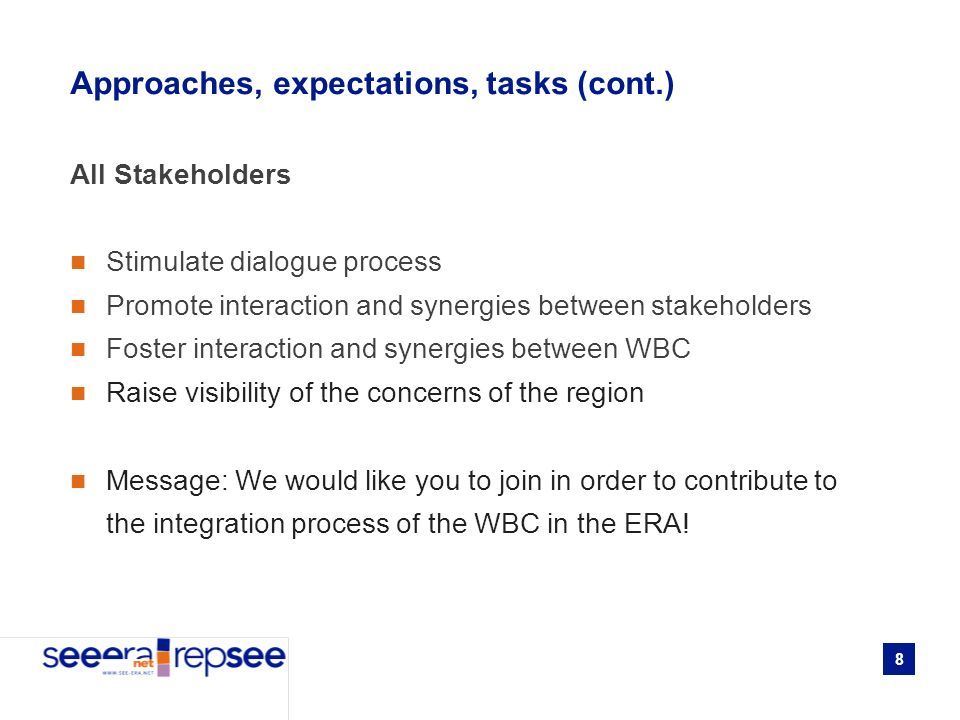 8 Approaches, expectations, tasks (cont.) All Stakeholders Stimulate dialogue process Promote interaction and synergies between stakeholders Foster interaction and synergies between WBC Raise visibility of the concerns of the region Message: We would like you to join in order to contribute to the integration process of the WBC in the ERA!