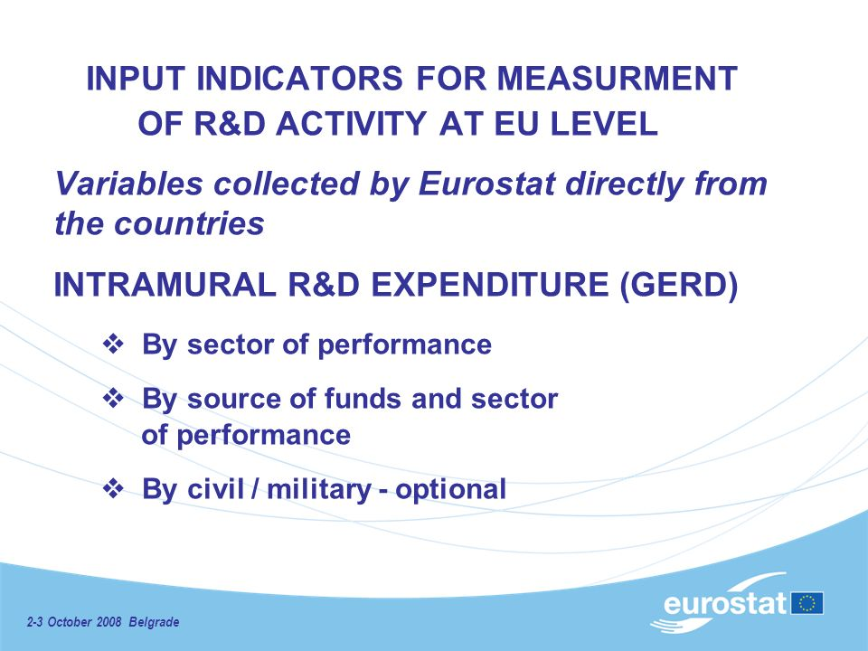 2-3 October 2008 Belgrade INPUT INDICATORS FOR MEASURMENT OF R&D ACTIVITY AT EU LEVEL Variables collected by Eurostat directly from the countries INTRAMURAL R&D EXPENDITURE (GERD) By sector of performance By source of funds and sector of performance By civil / military - optional