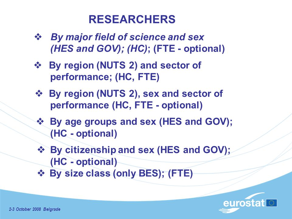 2-3 October 2008 Belgrade RESEARCHERS By major field of science and sex (HES and GOV); (HC); (FTE - optional) By region (NUTS 2) and sector of performance; (HC, FTE) By region (NUTS 2), sex and sector of performance (HC, FTE - optional) By age groups and sex (HES and GOV); (HC - optional) By citizenship and sex (HES and GOV); (HC - optional) By size class (only BES); (FTE)