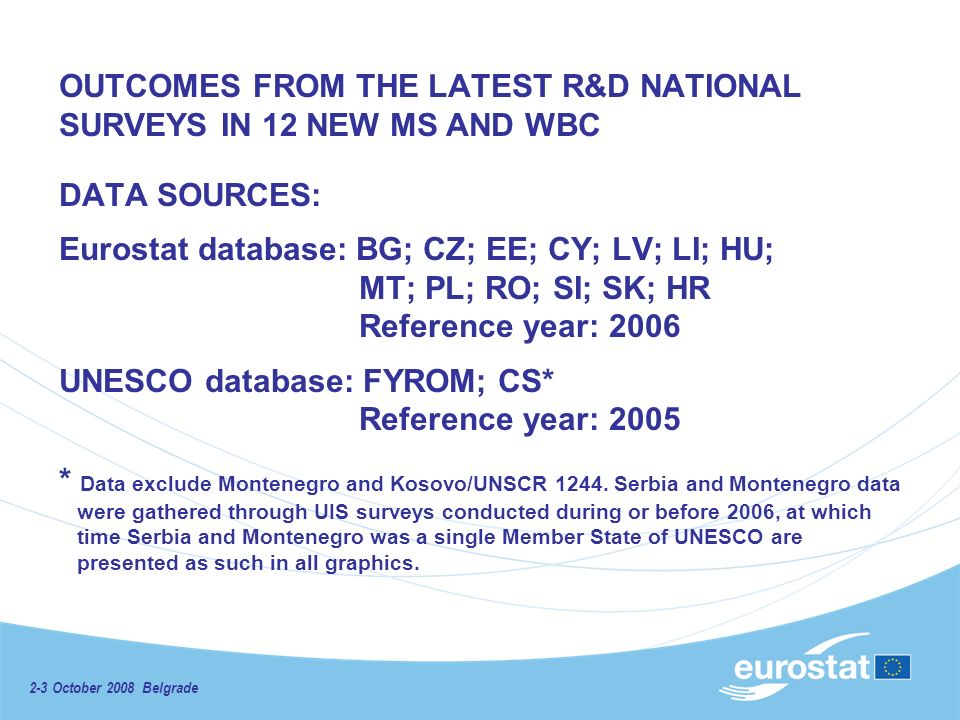 2-3 October 2008 Belgrade OUTCOMES FROM THE LATEST R&D NATIONAL SURVEYS IN 12 NEW MS AND WBC DATA SOURCES: Eurostat database: BG; CZ; EE; CY; LV; LI; HU; MT; PL; RO; SI; SK; HR Reference year: 2006 UNESCO database: FYROM; CS* Reference year: 2005 * Data exclude Montenegro and Kosovo/UNSCR 1244.