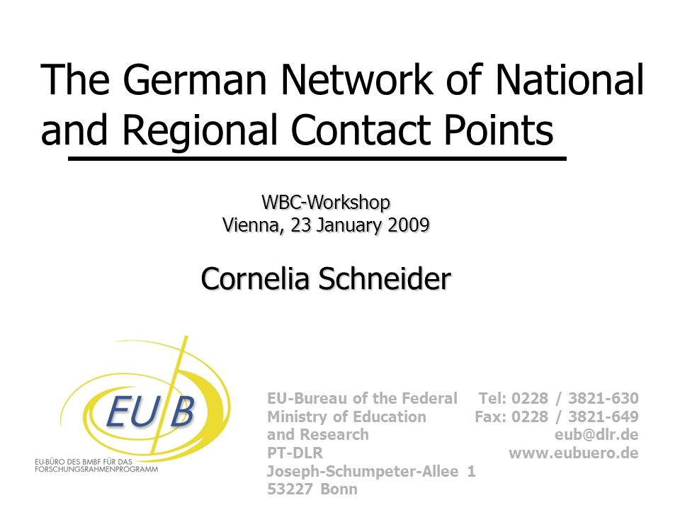 EU-Bureau of the Federal Ministry of Education and Research PT-DLR Joseph-Schumpeter-Allee Bonn Tel: 0228 / Fax: 0228 / The German Network of National and Regional Contact Points WBC-Workshop Vienna, 23 January 2009 Cornelia Schneider