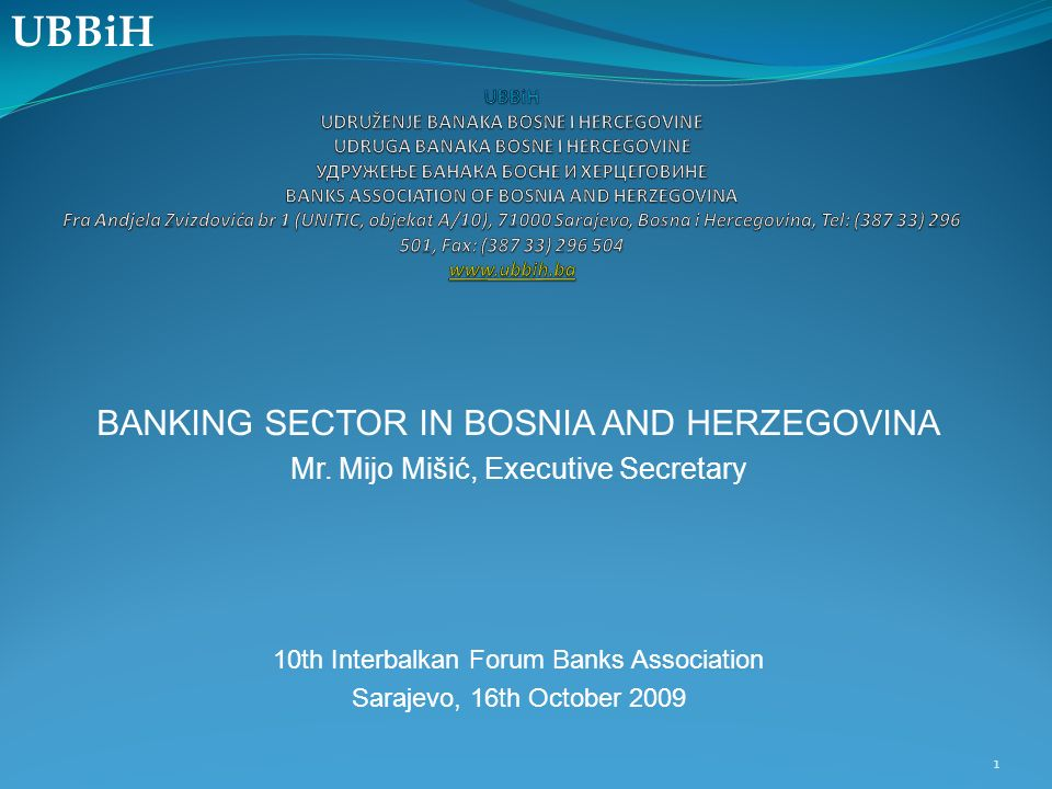 BANKING SECTOR IN BOSNIA AND HERZEGOVINA Mr.