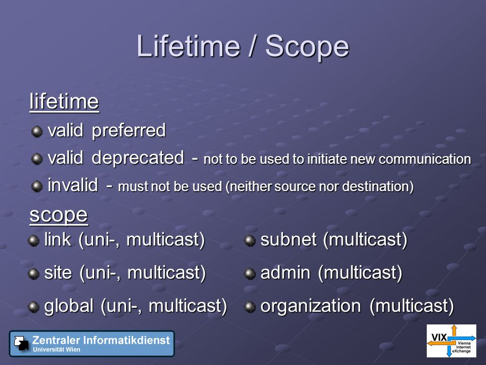 Lifetime / Scope lifetime valid preferred valid deprecated - not to be used to initiate new communication invalid - must not be used (neither source nor destination) scope link (uni-, multicast) link (uni-, multicast) subnet (multicast) subnet (multicast) site (uni-, multicast) site (uni-, multicast) admin (multicast) admin (multicast) global (uni-, multicast) global (uni-, multicast) organization (multicast) organization (multicast)