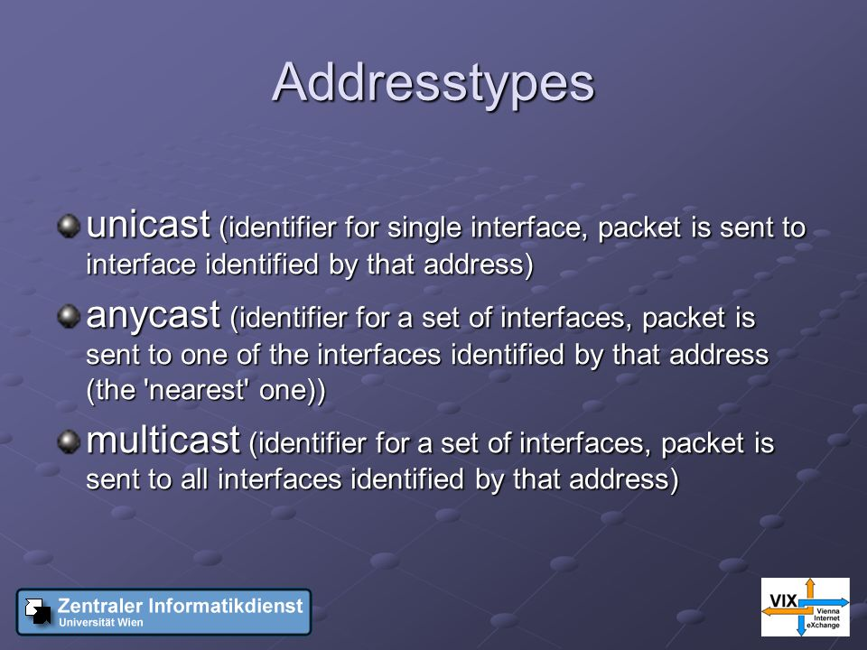 Addresstypes unicast (identifier for single interface, packet is sent to interface identified by that address) anycast (identifier for a set of interfaces, packet is sent to one of the interfaces identified by that address (the nearest one)) multicast (identifier for a set of interfaces, packet is sent to all interfaces identified by that address)