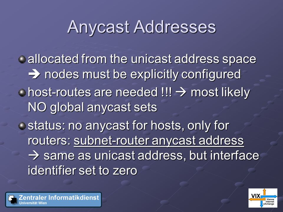 Anycast Addresses allocated from the unicast address space nodes must be explicitly configured host-routes are needed !!.