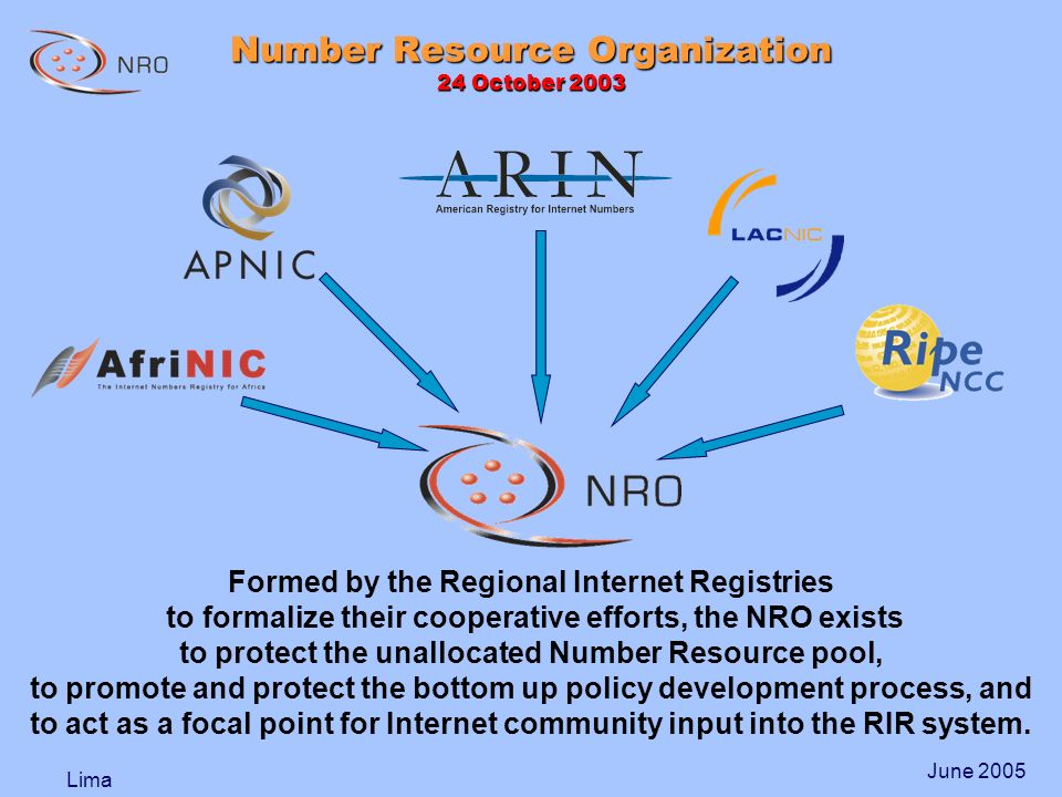 Lima June 2005 Formed by the Regional Internet Registries to formalize their cooperative efforts, the NRO exists to protect the unallocated Number Resource pool, to promote and protect the bottom up policy development process, and to act as a focal point for Internet community input into the RIR system.