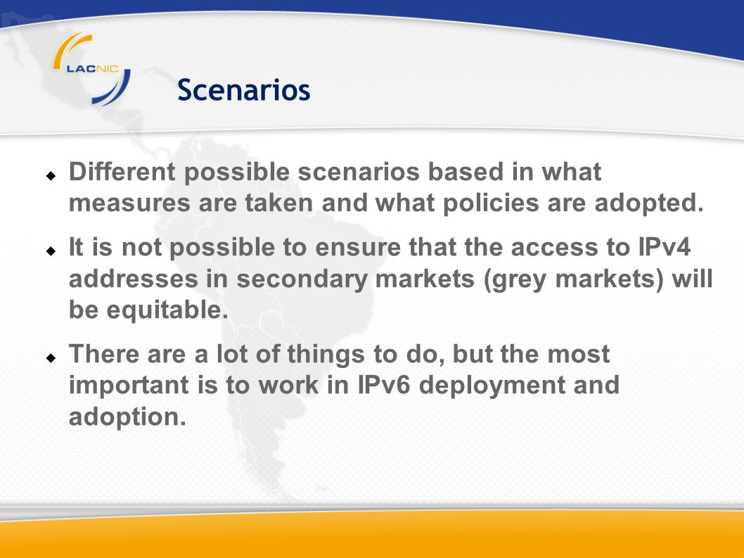 Scenarios Different possible scenarios based in what measures are taken and what policies are adopted.
