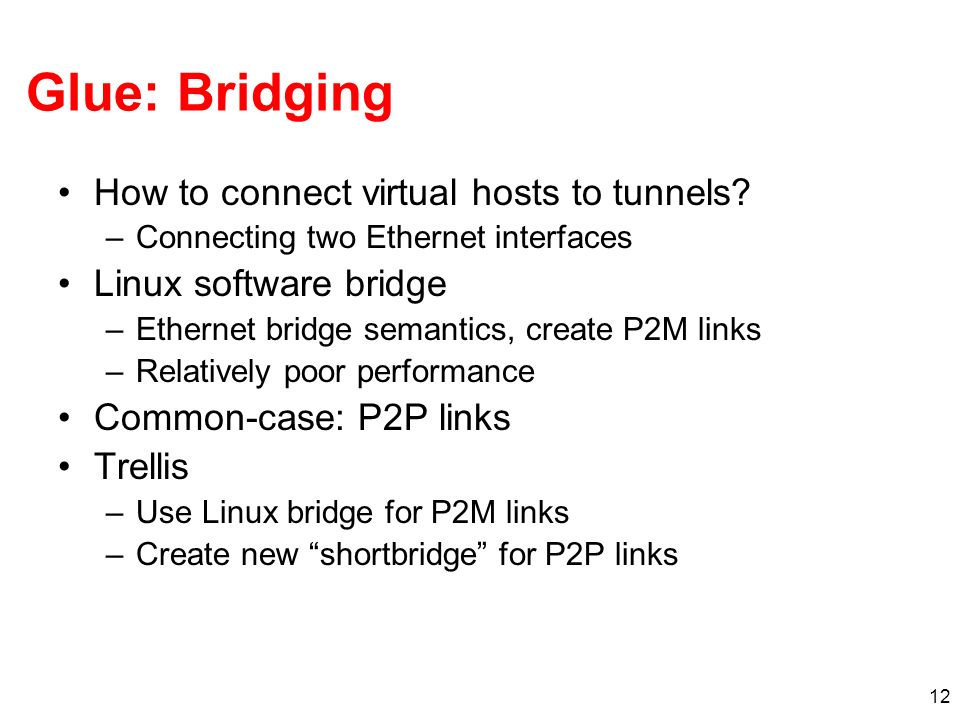 12 Glue: Bridging How to connect virtual hosts to tunnels.