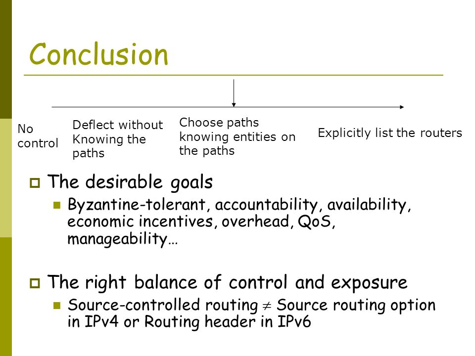 Conclusion The desirable goals Byzantine-tolerant, accountability, availability, economic incentives, overhead, QoS, manageability… The right balance of control and exposure Source-controlled routing Source routing option in IPv4 or Routing header in IPv6 Deflect without Knowing the paths Choose paths knowing entities on the paths Explicitly list the routers No control
