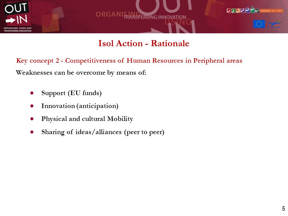 5 Isol Action - Rationale Key concept 2 - Competitiveness of Human Resources in Peripheral areas Weaknesses can be overcome by means of: Support (EU funds) Innovation (anticipation) Physical and cultural Mobility Sharing of ideas/alliances (peer to peer)