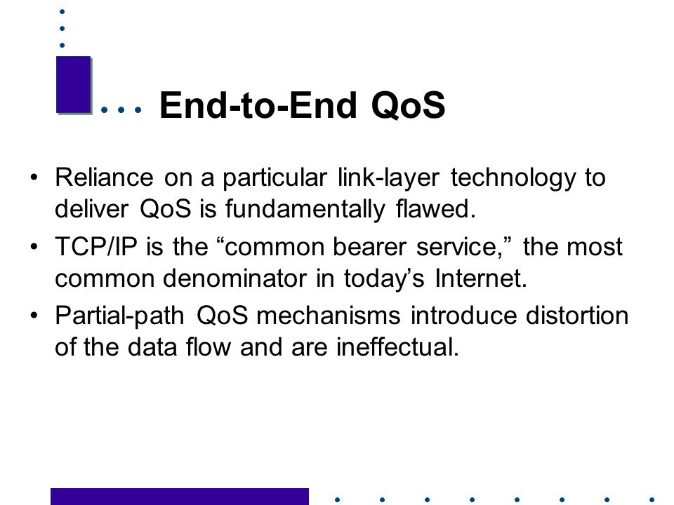 27 End-to-End QoS Reliance on a particular link-layer technology to deliver QoS is fundamentally flawed.