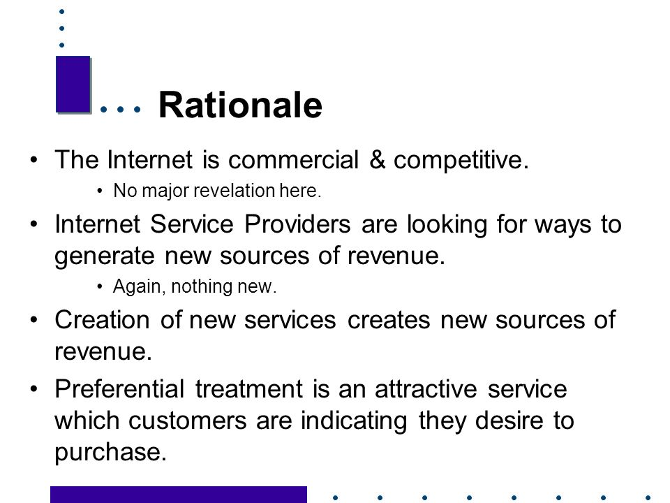 4 Rationale The Internet is commercial & competitive.