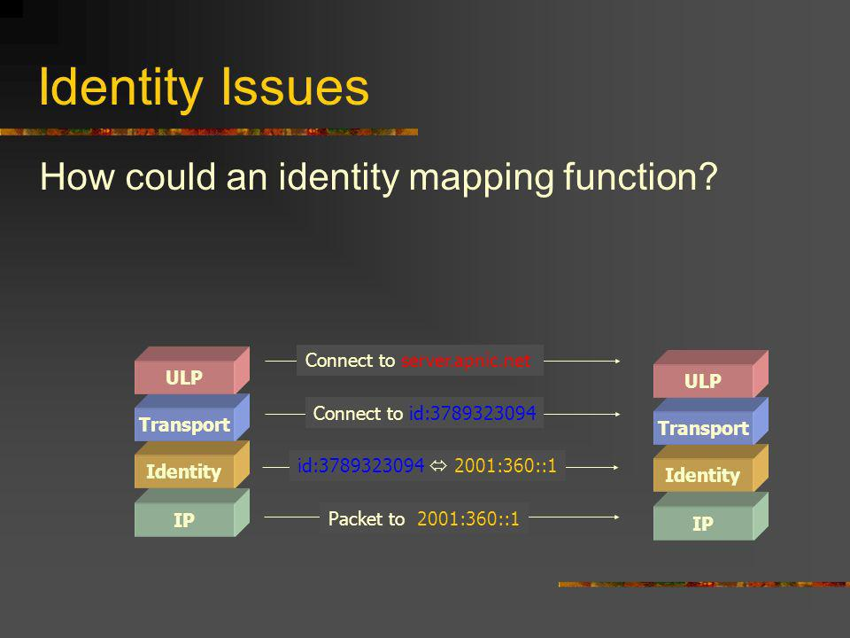 Identity Issues How could an identity mapping function.