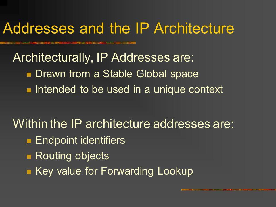 Addresses and the IP Architecture Architecturally, IP Addresses are: Drawn from a Stable Global space Intended to be used in a unique context Within the IP architecture addresses are: Endpoint identifiers Routing objects Key value for Forwarding Lookup