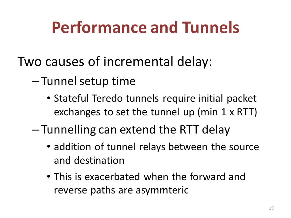 Performance and Tunnels Two causes of incremental delay: – Tunnel setup time Stateful Teredo tunnels require initial packet exchanges to set the tunnel up (min 1 x RTT) – Tunnelling can extend the RTT delay addition of tunnel relays between the source and destination This is exacerbated when the forward and reverse paths are asymmteric 19
