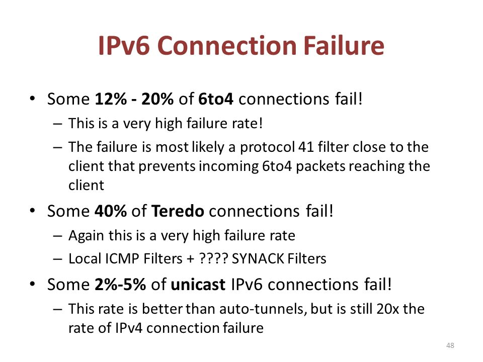 IPv6 Connection Failure 48 Some 12% - 20% of 6to4 connections fail.