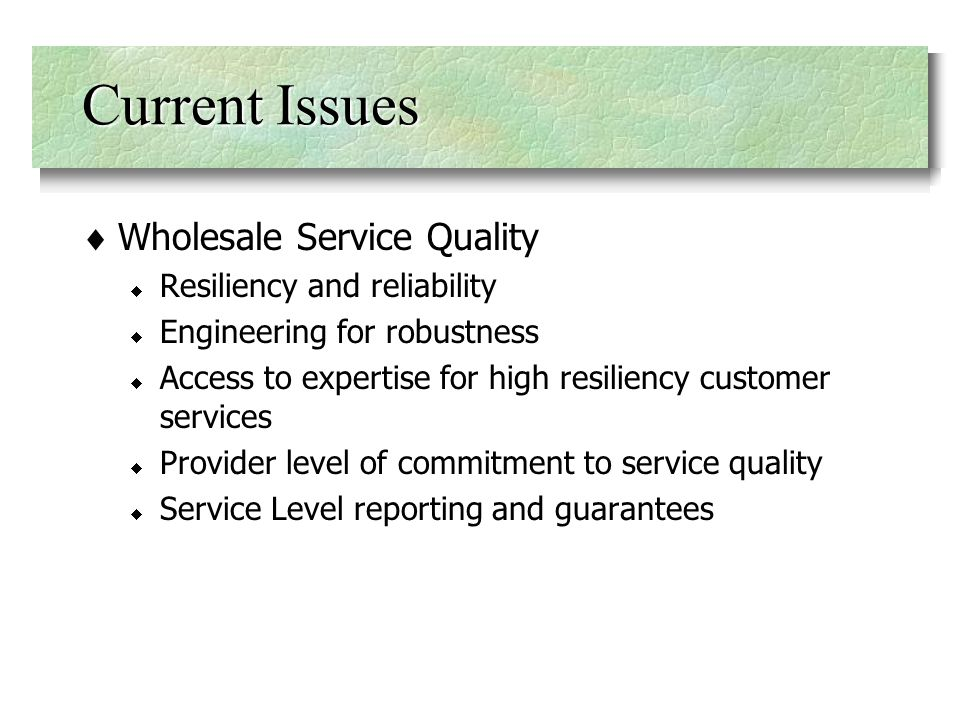 Wholesale Service Quality Resiliency and reliability Engineering for robustness Access to expertise for high resiliency customer services Provider level of commitment to service quality Service Level reporting and guarantees Current Issues
