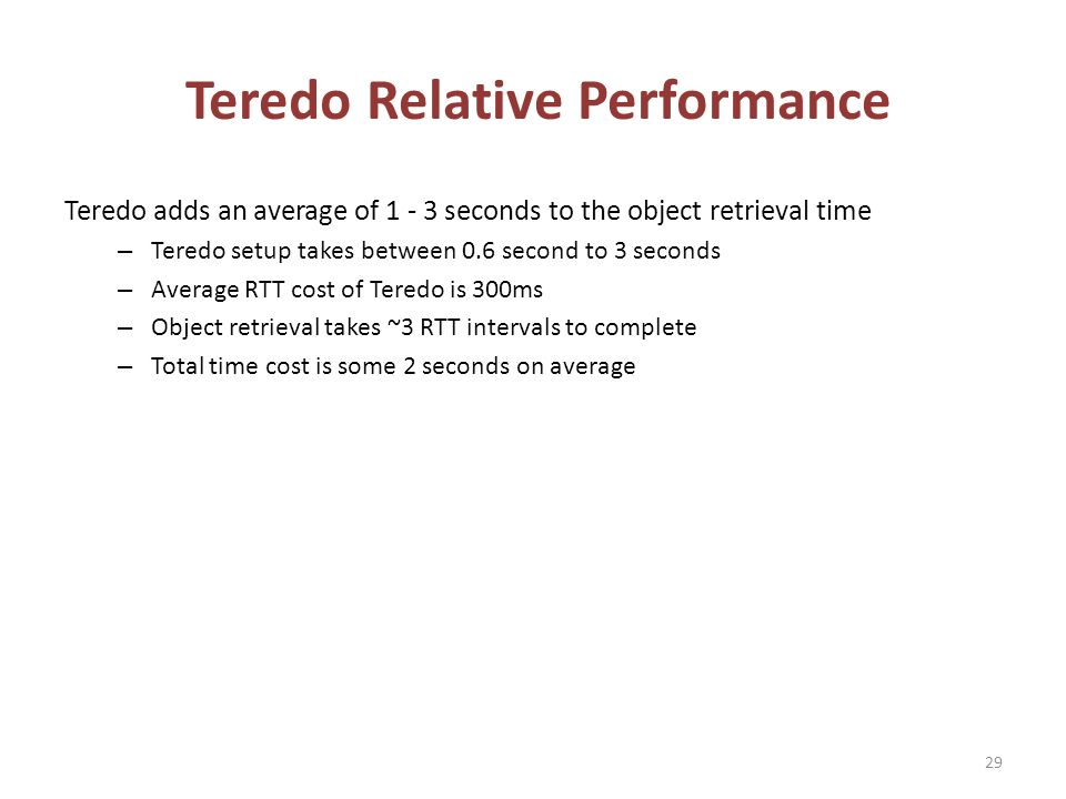 Teredo Relative Performance Teredo adds an average of 1 - 3 seconds to the object retrieval time – Teredo setup takes between 0.6 second to 3 seconds – Average RTT cost of Teredo is 300ms – Object retrieval takes ~3 RTT intervals to complete – Total time cost is some 2 seconds on average 29