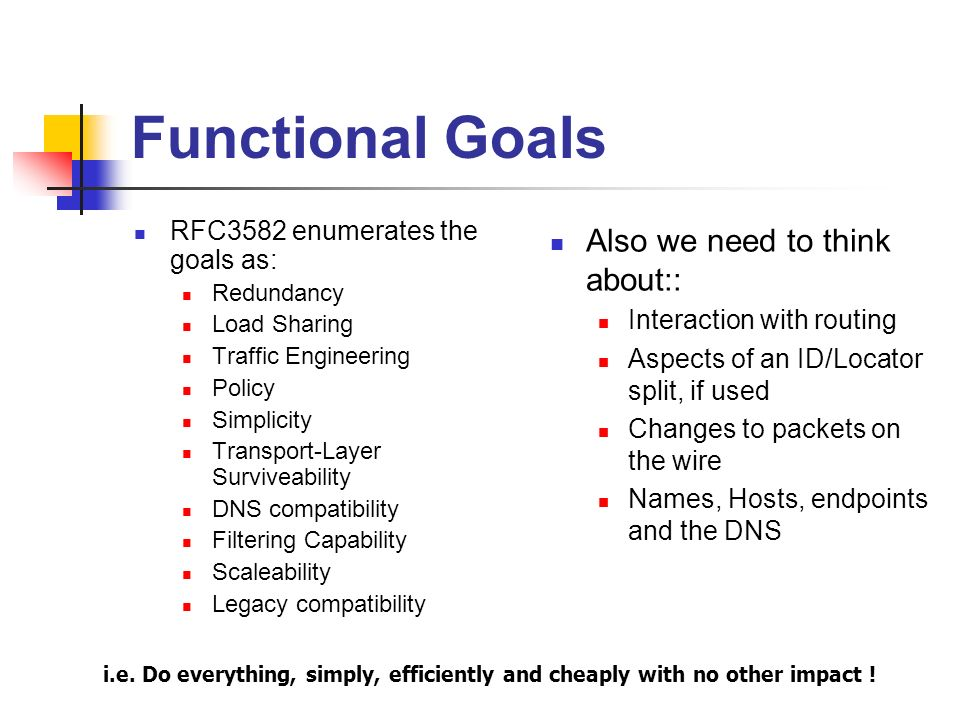 Functional Goals RFC3582 enumerates the goals as: Redundancy Load Sharing Traffic Engineering Policy Simplicity Transport-Layer Surviveability DNS compatibility Filtering Capability Scaleability Legacy compatibility Also we need to think about:: Interaction with routing Aspects of an ID/Locator split, if used Changes to packets on the wire Names, Hosts, endpoints and the DNS i.e.