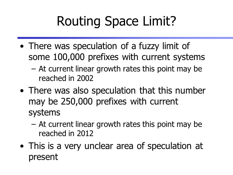 Routing Space Limit.
