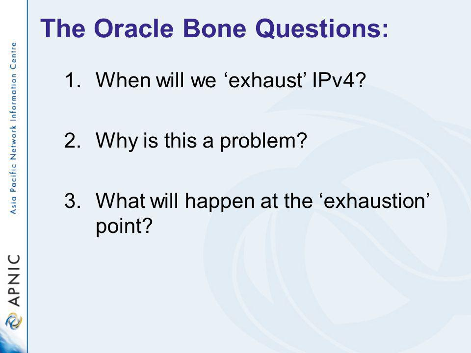 The Oracle Bone Questions: 1.When will we exhaust IPv4.