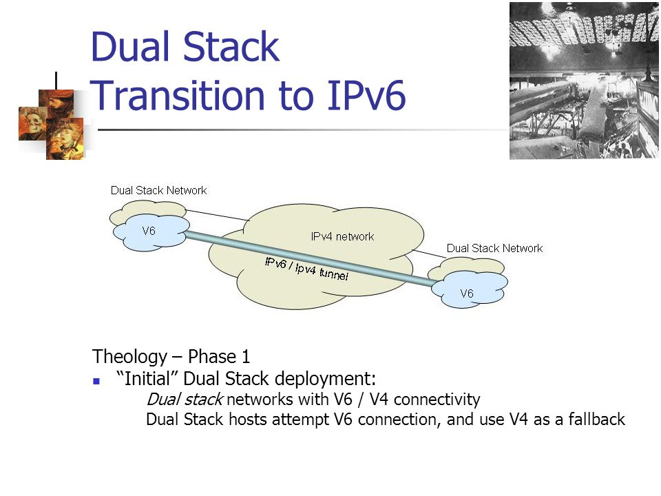Dual Stack Transition to IPv6 Theology – Phase 1 Initial Dual Stack deployment: Dual stack networks with V6 / V4 connectivity Dual Stack hosts attempt V6 connection, and use V4 as a fallback