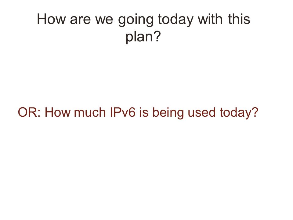 How are we going today with this plan OR: How much IPv6 is being used today