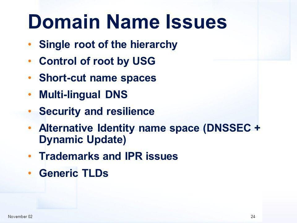 November 0224 Domain Name Issues Single root of the hierarchy Control of root by USG Short-cut name spaces Multi-lingual DNS Security and resilience Alternative Identity name space (DNSSEC + Dynamic Update) Trademarks and IPR issues Generic TLDs