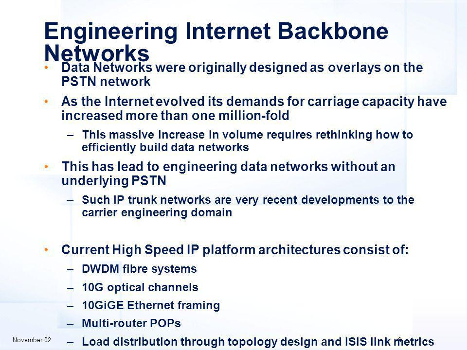 November 026 Engineering Internet Backbone Networks Data Networks were originally designed as overlays on the PSTN network As the Internet evolved its demands for carriage capacity have increased more than one million-fold –This massive increase in volume requires rethinking how to efficiently build data networks This has lead to engineering data networks without an underlying PSTN –Such IP trunk networks are very recent developments to the carrier engineering domain Current High Speed IP platform architectures consist of: –DWDM fibre systems –10G optical channels –10GiGE Ethernet framing –Multi-router POPs –Load distribution through topology design and ISIS link metrics