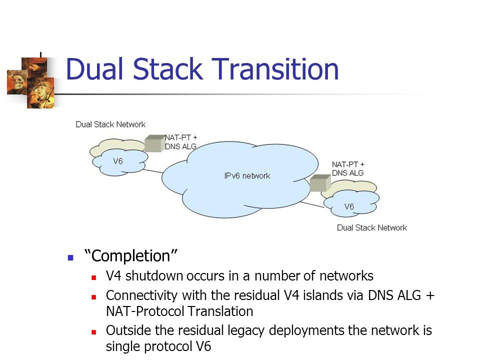 Dual Stack Transition Completion V4 shutdown occurs in a number of networks Connectivity with the residual V4 islands via DNS ALG + NAT-Protocol Translation Outside the residual legacy deployments the network is single protocol V6