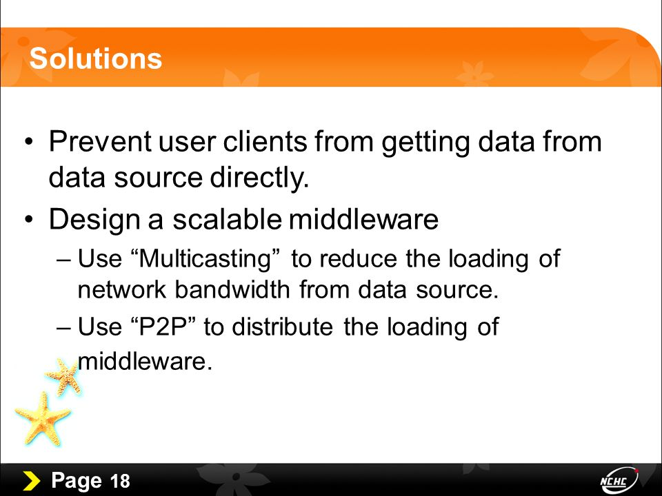 Page 18 Solutions Prevent user clients from getting data from data source directly.