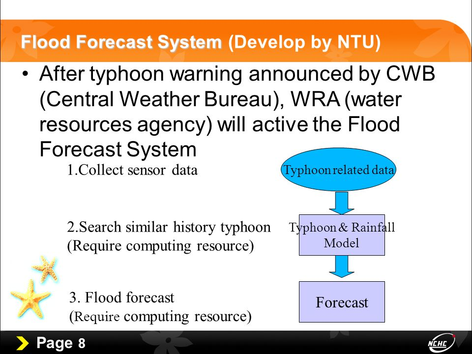 Page 8 Flood Forecast System Flood Forecast System (Develop by NTU) After typhoon warning announced by CWB (Central Weather Bureau), WRA (water resources agency) will active the Flood Forecast System Typhoon & Rainfall Model Forecast Typhoon related data 1.Collect sensor data 2.Search similar history typhoon (Require computing resource) 3.