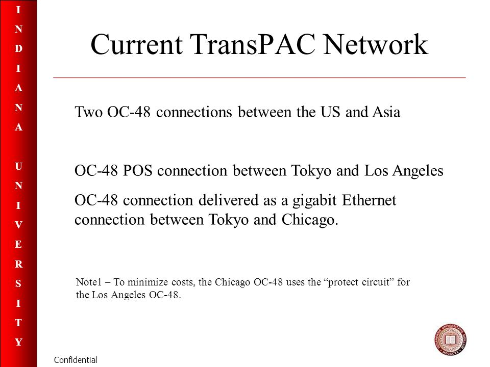 INDIANAUNIVERSITYINDIANAUNIVERSITY Confidential Current TransPAC Network Two OC-48 connections between the US and Asia OC-48 POS connection between Tokyo and Los Angeles OC-48 connection delivered as a gigabit Ethernet connection between Tokyo and Chicago.