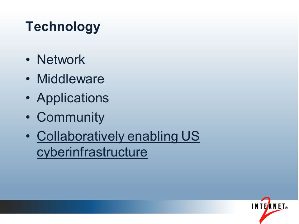 Technology Network Middleware Applications Community Collaboratively enabling US cyberinfrastructure