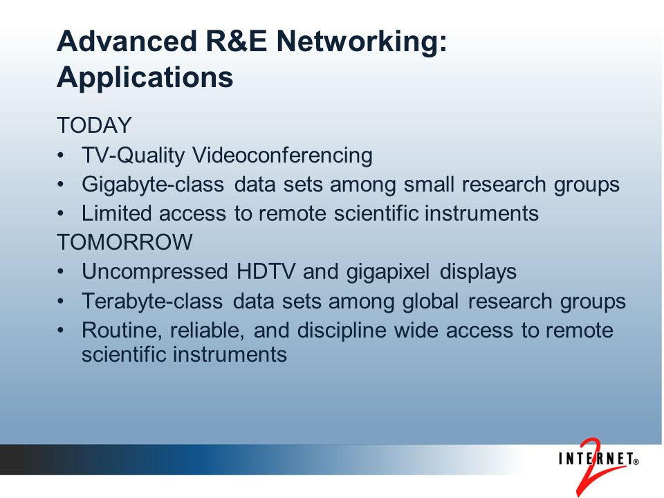 Advanced R&E Networking: Applications TODAY TV-Quality Videoconferencing Gigabyte-class data sets among small research groups Limited access to remote scientific instruments TOMORROW Uncompressed HDTV and gigapixel displays Terabyte-class data sets among global research groups Routine, reliable, and discipline wide access to remote scientific instruments