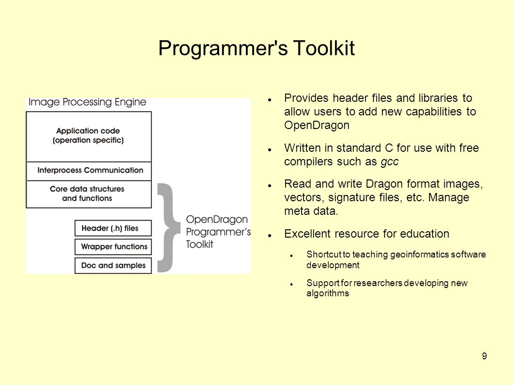 9 Programmer s Toolkit Provides header files and libraries to allow users to add new capabilities to OpenDragon Written in standard C for use with free compilers such as gcc Read and write Dragon format images, vectors, signature files, etc.